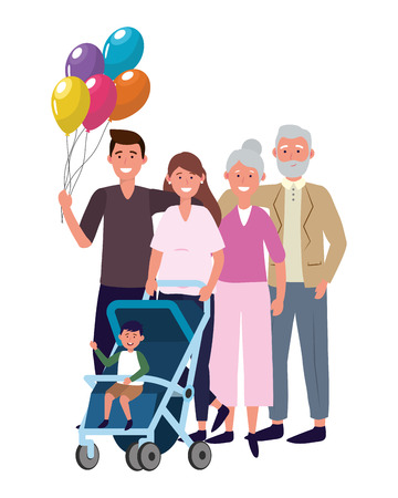 family with baby carriage avatar cartoon character and balloons vector illustration graphic design