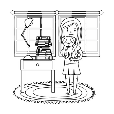 childhood happy child girl with cute little pet animal inside room with furniture cartoon vector illustration graphic design
