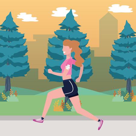 Fitness deporte tren mujer corriendo escena al aire libre dibujos animados ilustración vectorial diseño gráfico Ilustración de vector