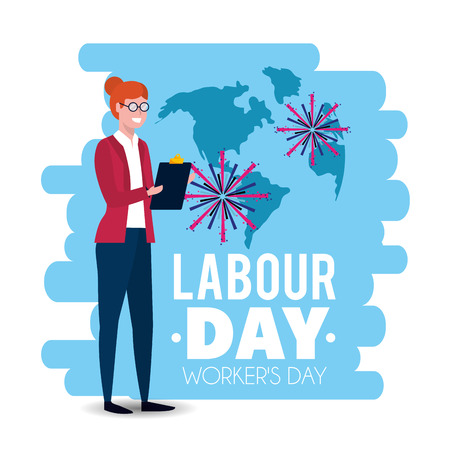 elegant businesswoman to labour day holiday vector illustration