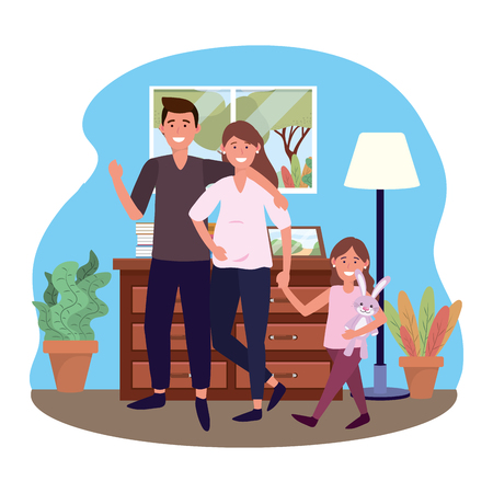 couple with child avatar cartoon character with bunny toy in the living room vector illustration graphic design
