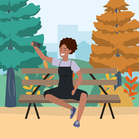 Millennial person stylish outfit sitting in park bench using smartphone taking selfie texting using apron afro vector illustration graphic design
