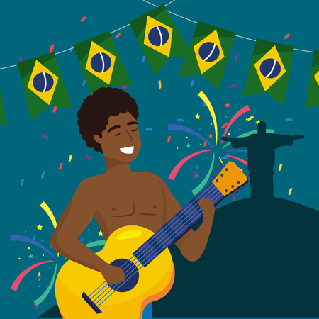 man musician with guitar and party brazil banner vector illustration
