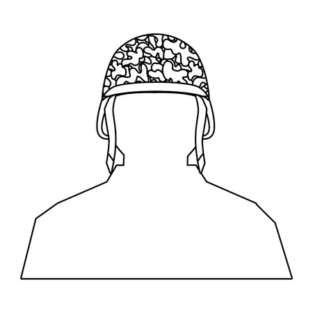 soldier silhouette and helmet icon isolated black and white vector illustration graphic design