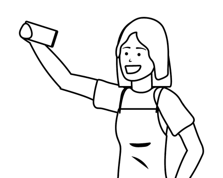 Millennial young person smartphone selfie portrait black and white Illustration