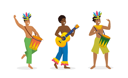 set men dancers and musician with drum and guitar