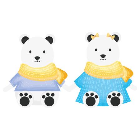 cute polar bears couple childish characters vector illustration design Ilustração