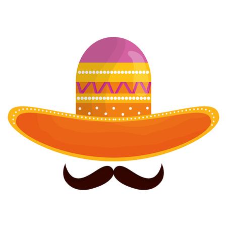 Sombrero mexicano con bigote, diseño de ilustraciones vectoriales icono tradicional