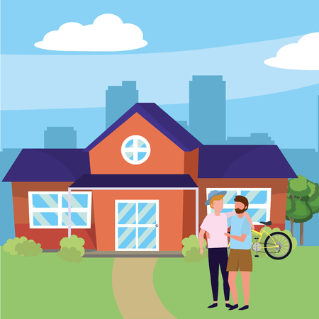 casual happy people men friends in front urban house home cartoon vector illustration graphic design