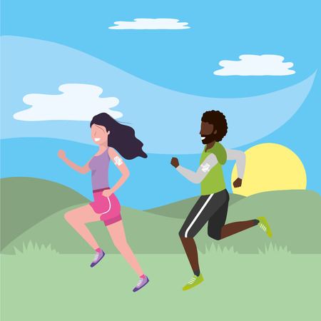 fitness exercise couple running workout healthy fit lifestyle outdoor scene cartoon vector illustration graphic design