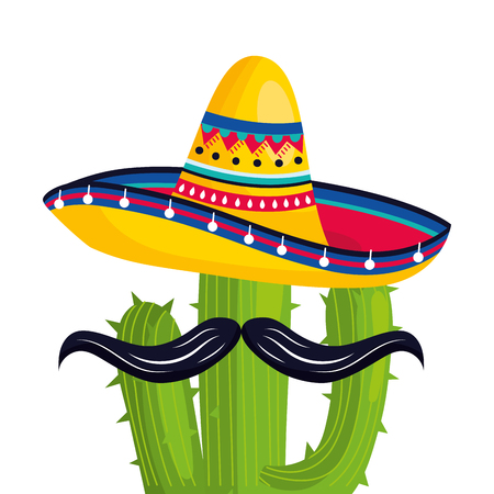 mexican culture mexico cactus with moustache wearing mariachi hat cartoon vector illustration graphic design