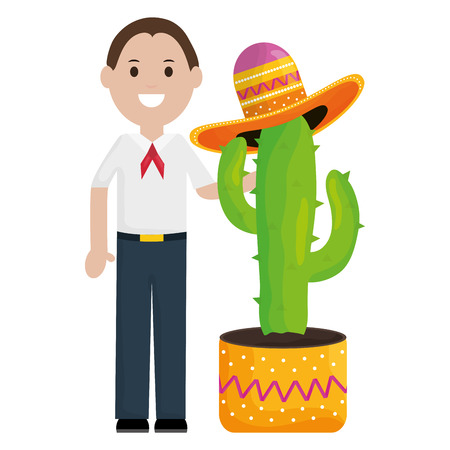 mexican man with cactus plant avatar character vector illustration design 向量圖像