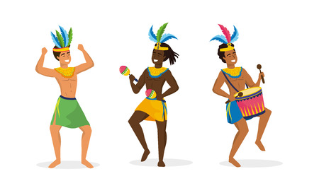 set men dancers and musician with drum and maracas vector illustration