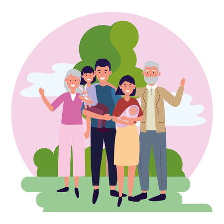 family avatar cartoon character park landscape vector illustration graphic design