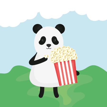 cute bear panda with pop corn character vector illustration design