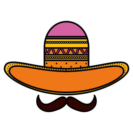 mexican hat with mustache traditional icon vector illustration design