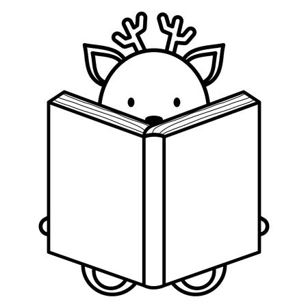 cute reindeer reading book character vector illustration design