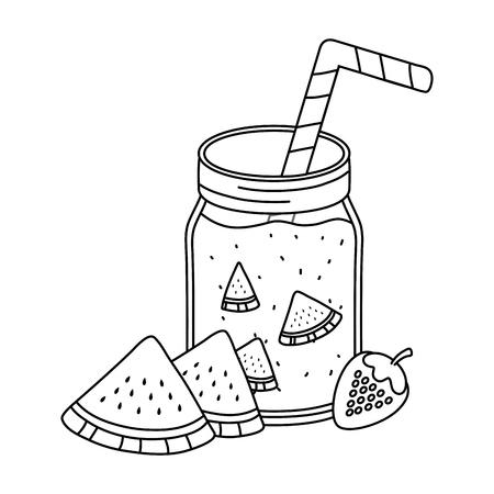 delicious tasty refresh red fruits juice mason jar cartoon vector illustration graphic design