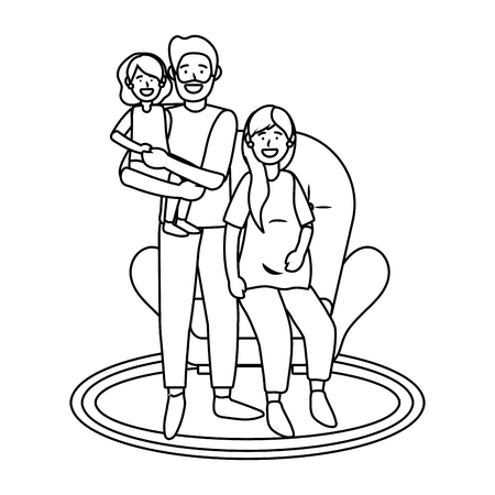 couple with child avatar cartoon character sitting black and white vector illustration graphic design Vettoriali