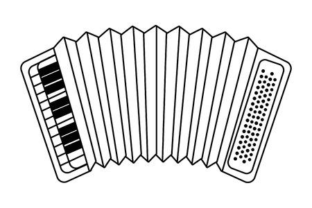 music instrument accordion cartoon vector illustration graphic design Ilustración de vector