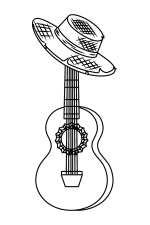 music instrument guitar with farmer country hat cartoon vector illustration graphic design