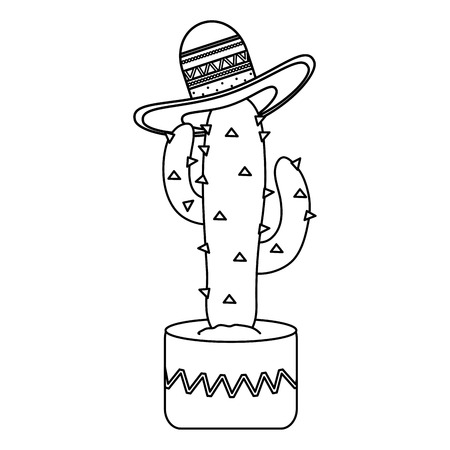 cactus plant with mexican hat vector illustration design