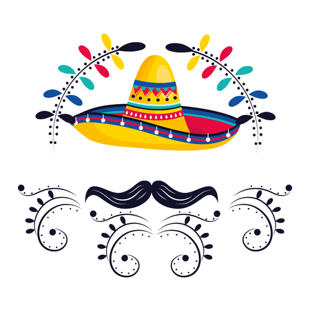 mexican culture mexico mariachi hat with mousctache cartoon vector illustration graphic design