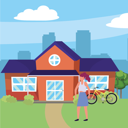 casual happy people woman in front urban house home cartoon vector illustration graphic design