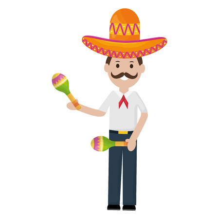 mexican man with mariachi hat and maracas vector illustration design 일러스트