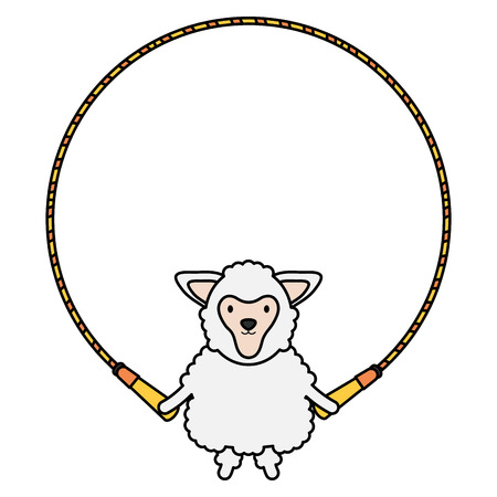 cute sheep jumpin rope childish character vector illustration design