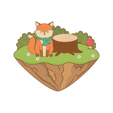 cute fox in the field woodland character vector illustration design Vectores