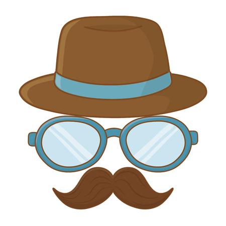 hat glasses and moustache icon cartoon vector illustration graphic design 일러스트