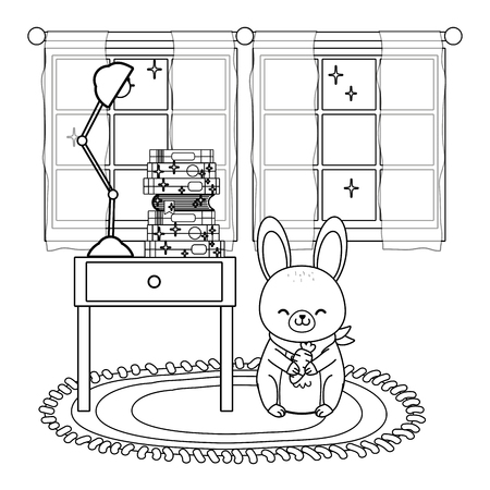 cute little animal rabbit bunny at house room with furniture cartoon vector illustration graphic design