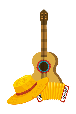 music instruments guitar and accordion cartoon vector illustration graphic design