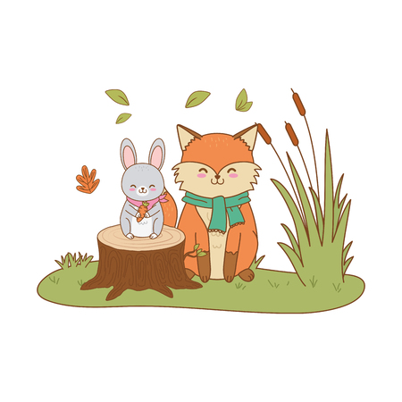cute animals in the field woodland characters vector illustration design Illustration