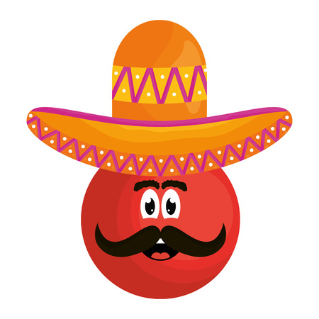 mexican emoji with hat character vector illustration design