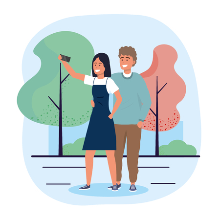 man and woman couple together with smartphone vector illustration Иллюстрация