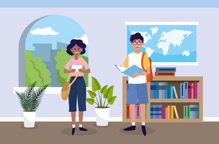 girl and boy with education book in the classroom vector illustration Vectores