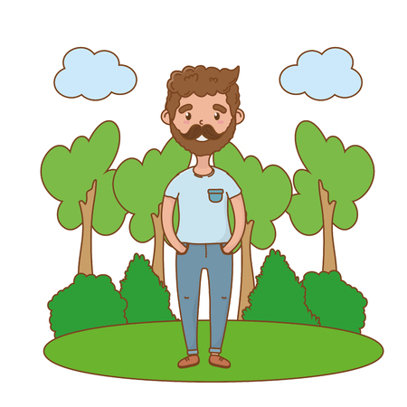 man avatar cartoon character beard forest landscape vector illustration graphic design