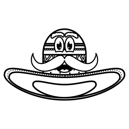 mexican hat with mustache emoji character vector illustration design Vectores