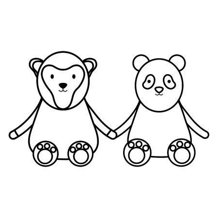 cute bear panda and monkey characters vector illustration design