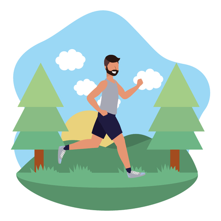 fitness exercise man running workout healthy fit lifestyle outdoor scene cartoon 向量圖像