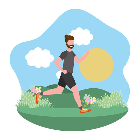 fitness exercise man running workout healthy fit lifestyle outdoor scene cartoon vector illustration graphic design