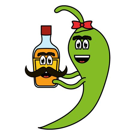 chilli pepper with tequila bottle comic character vector illustration design