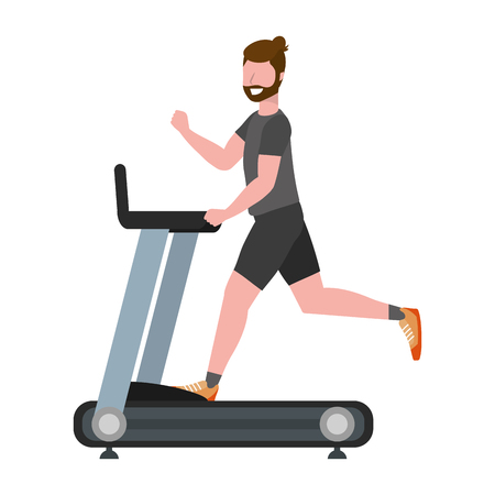 fitness exercise man running over treadmill workout healthy fit lifestyle cartoon vector illustration graphic design 일러스트