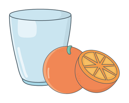 delicious tasty fruit orange with glass cup cartoon vector illustration graphic design