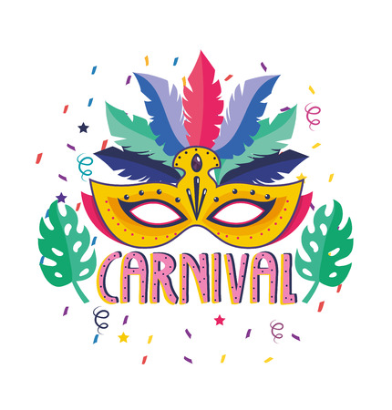 mask with feathers and leaves to festival celebration vector illustration