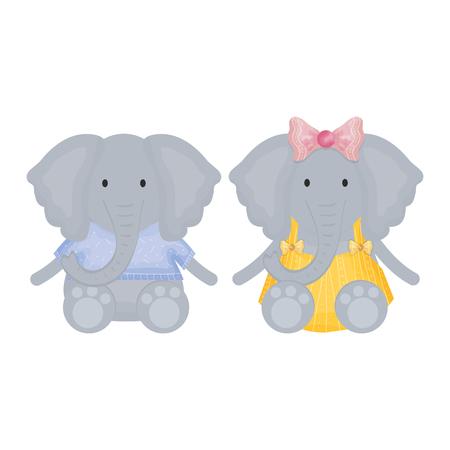 cute elephants couple childish characters vector illustration design
