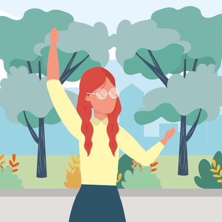 causal people woman raised hands outdoor scene cartoon vector illustration graphic design