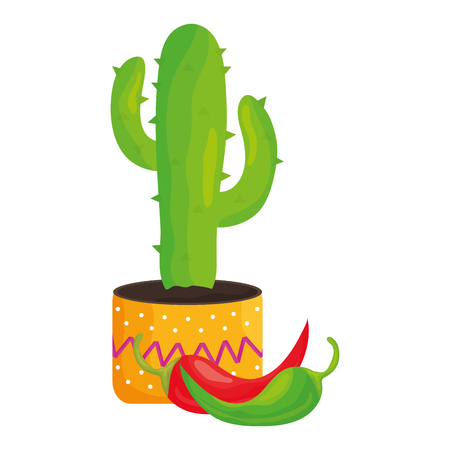 mexican cactu plant with chilli peppers vector illustration design